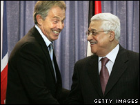 UK Prime Minister Tony Blair and Palestinian President Mahmoud Abbas in Ramallah