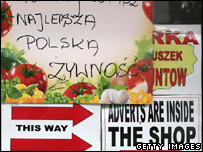A Polish food sign in a corner shop
