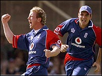 Paul Collingwood, in his 100th ODI, was one of three England bowlers to take two wickets