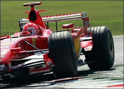 Michael Schumacher takes the lead
