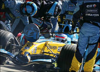 Giancarlo Fisichella's solitary pit-stop