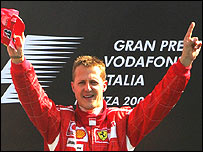 Michael Schumacher on the Italian Grand Prix podium after announcing his retirement