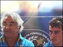 Renault team chief Flavio Briatore and driver Fernando Alonso
