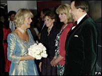 The Duchess of Cornwall meets Joanna Lumley and Barry Humphries