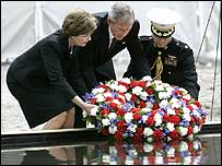 President Bush and wife laying wreath