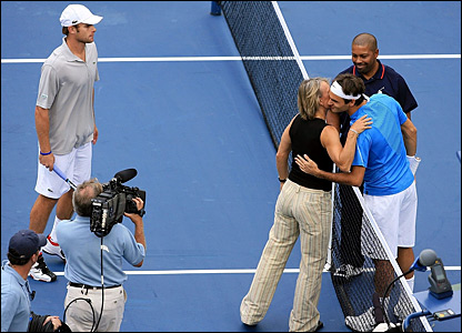 Andy Roddick, Martina Navratilova and Roger Federer