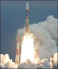 An H-2A rocket carrying an observation satellite takes off from Tanegashima on 24 January 2006