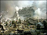 World Trade Centre rubble after 9/11 attack