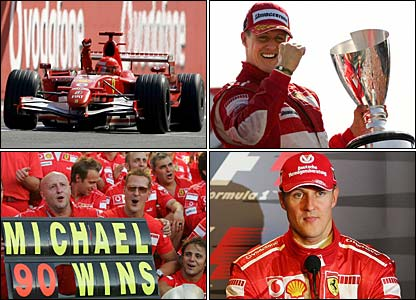 To left: Michael Schumacher takes the chequered flag at Monza. Bottom Left: Schumacher celebrates 90 F1 wins. Top right: On the podium at Monza. Bottom Right: Schumacher announces his retirement