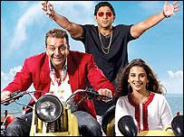 Sanjay Dutt (left) in Lage Raho Munnabhai, his latest hit