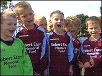 Young footballers in Robert Eaton Memorial Fund kit