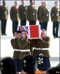The coffin containing the body of Private Craig O'Donnell of the 5th Battalion, Royal Regiment of Scotland  being carried
