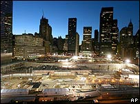 Dawn breaks over Ground Zero on 11 September 2006