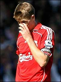 Steven Gerrard in action for Liverpool at Everton