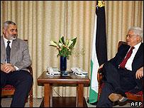 Ismail Haniya, Hamas' prime minister, and Palestinian leader Mahmoud Abbas