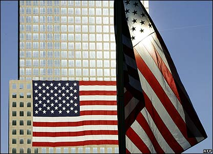 US flags fly near the Ground Zero site