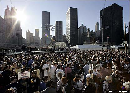 Crowds at Ground Zero in New York