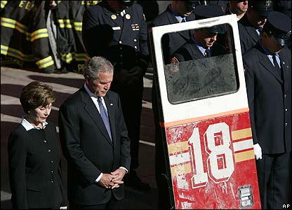 President George W Bush and Laura Bush at Fort Pitt Firehouse