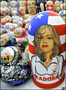 Traditional Russian wooden dolls depicting Madonna on sale in Moscow