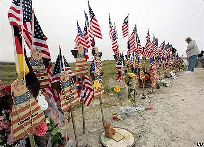 A visitor at an unofficial memorial to United Airlines flight 93 in Pennsylvania