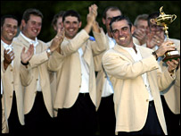 Paul McGinley and the Europe team with the Ryder Cup in 2002
