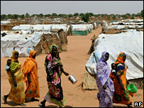 Refugees at camp in Darfur region of Sudan