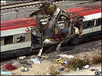 A bombed train in Madrid, 2004