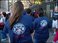 Women in matching T-shirts at Ground Zero