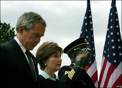 President George W Bush and Laura Bush attend a memorial at the Pentagon in Washington DC