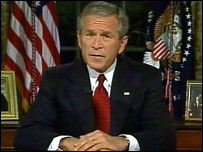 US President George W Bush addresses the nation from the Oval Office