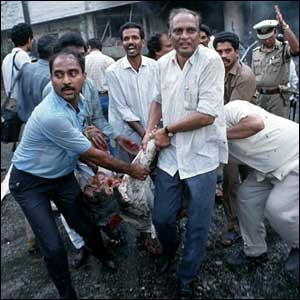 A casualty of the explosion being brought out of the state-run Air India headquarters.(Picture Fawzan Husain)