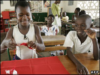 Children at a school in Ivory Coast