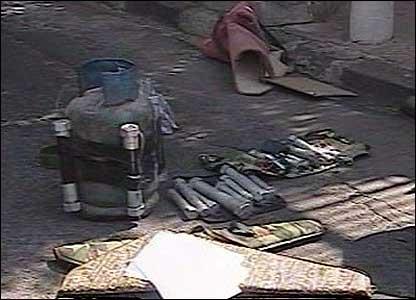 Unloaded contents of van at blast scene