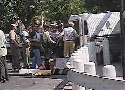 Van at blast scene
