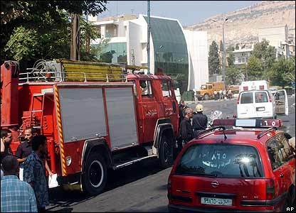 Emergency services parked near the US embassy in Damascus