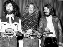 Jimmy Page, Robert Plant and John Bonham of Led Zeppelin in 1970