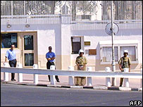 Syrian security personnel outside US embassy