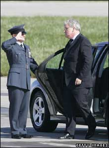 Defence Secretary Des Browne arrives for the ceremony