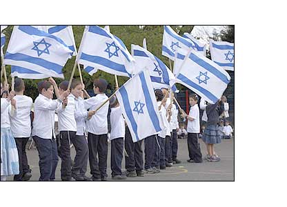 Children waving Israeli flags. Image Credit: Arnhel de Serra