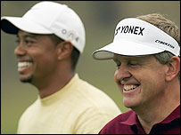 Tiger Woods (L) and Colin Montgomerie