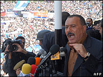 President Ali Abdullah Saleh speaking in Ibb