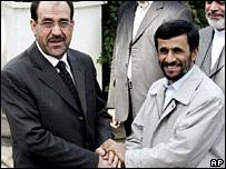 Iraqi PM Nouri al-Maliki and Iranian President Mahmoud Ahmadinejad