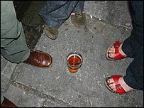 People drinking in the street