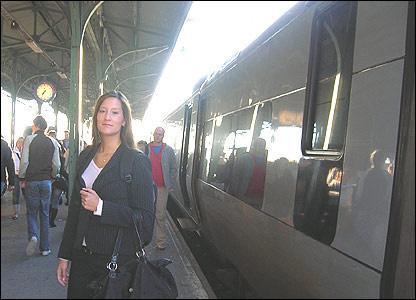 Maria Christensen ready to board train in Malmo
