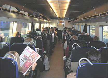 Commuters on Malmo-Copenhagen train