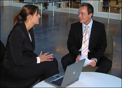 Maria Christensen in business meeting