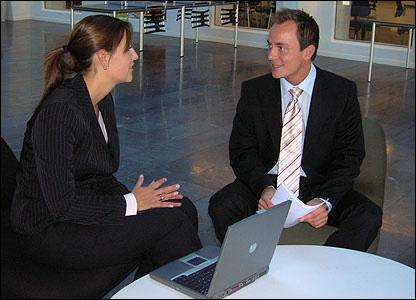Maria Christensen in business meeting