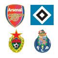 Escudos de los equipos en el Grupo G.