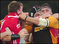 Scarlets' Matthew Rees and Rhys Thomas exchange pleasantries