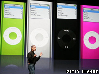 Steve Jobs with new iPod models